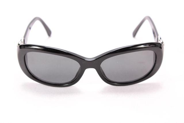 CHANEL Black Frame Gray Lens CC Embellished Rectangular ...