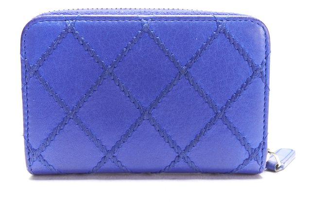 CHANEL Authentic Blue Quilted Leather CC Coin Purse