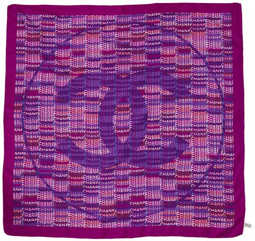 CHANEL Purple Blue Silk CC Logo Large Square Scarf