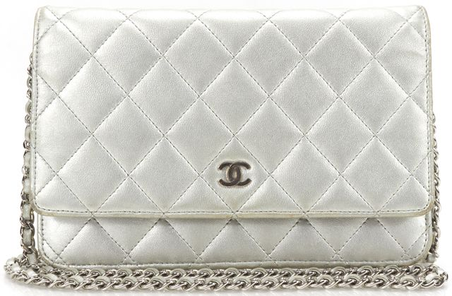 CHANEL Silver Metallic Quilted Lamb Leather CC Wallet Chain Crossbody