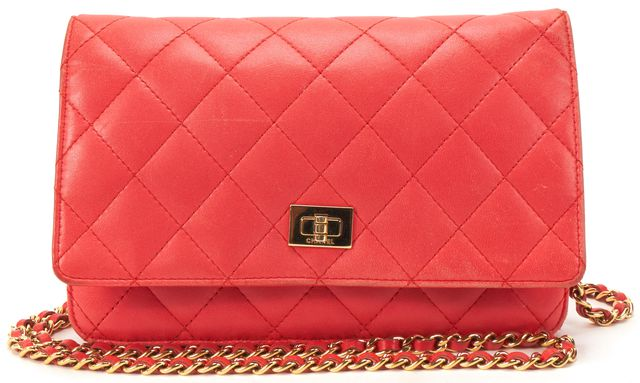 CHANEL Coral Pink Quilted Lamb Leather Reissue Wallet On Chain Crossbody Bag