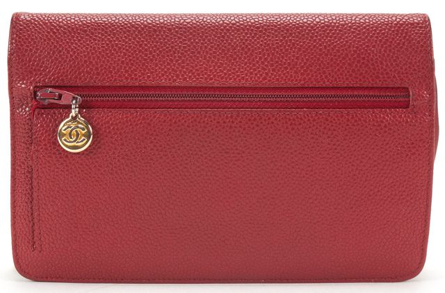 CHANEL Red Caviar Leather CC Wallet On Chain WOC Crossbody Handbag
