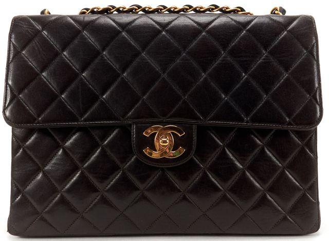 CHANEL Black Quilted Lambskin Leather CC Classic Jumbo Single Shoulder Bag