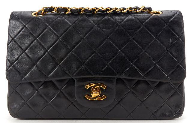 CHANEL Black Quilted Lambskin Leather CC Classic Medium Double Flap Handbag