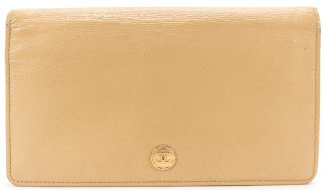 CHANEL Beige Caviar Leather CC Bifold Long Wallet