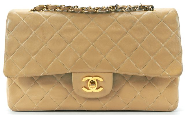 CHANEL Beige Quilted Lambskin CC Classic Medium Double Flap Handbag