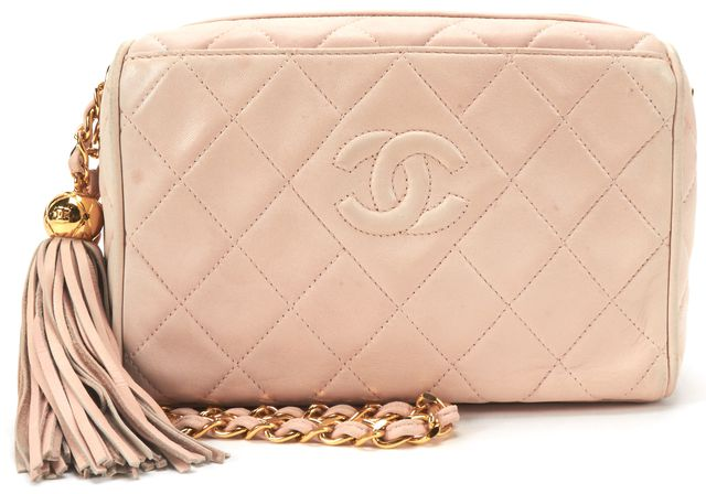 CHANEL Pink Quilted Lambskin Leather CC Tassel Camera Shoulder Bag