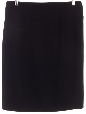 CHANEL Black Wool Gold Buckle Straight Skirt