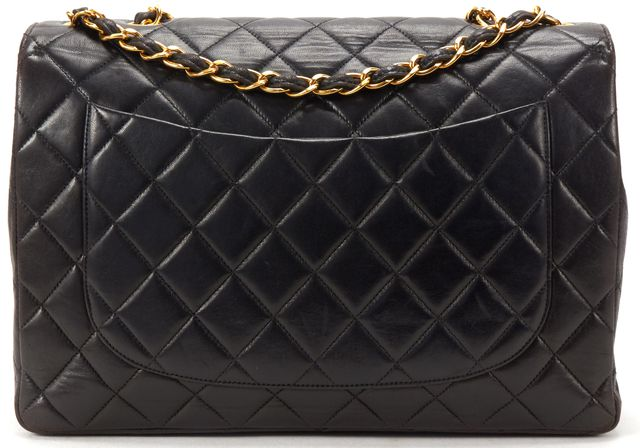 CHANEL Black Quilted Lambskin Leather CC Classic Jumbo Handbag