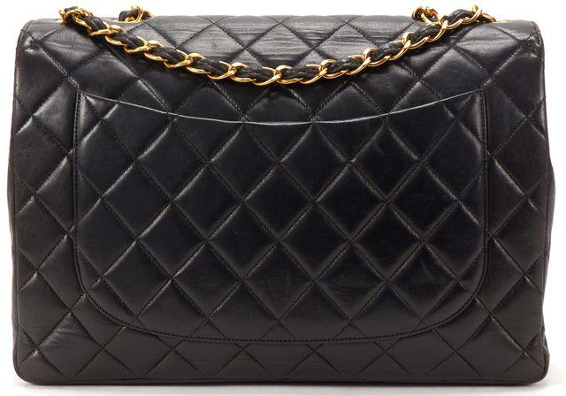 CHANEL Black Quilted Lambskin Leather CC Classic Jumbo Handbag