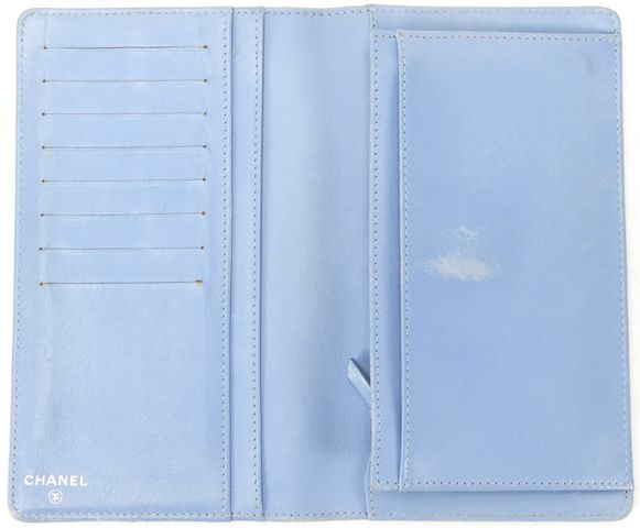 CHANEL Blue Quilted Lambskin Leather Bifold Long Wallet w/ Box