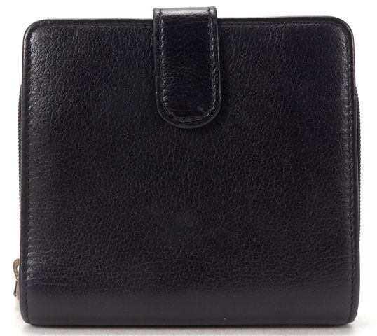CHANEL Black Leather Camellia CC Flower Compact Wallet