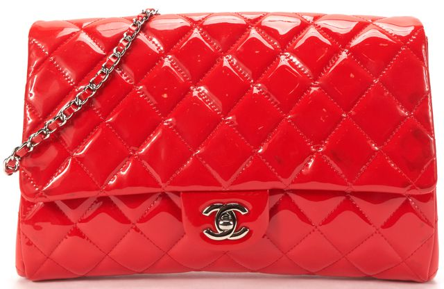 CHANEL Auth Red Patent Leather Quilted Single Flap Chain Strap Shoulder Bag