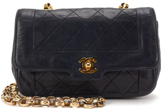 CHANEL Authentic Black Quilted Leather Gold Chain Strap CC Crossbody Bag