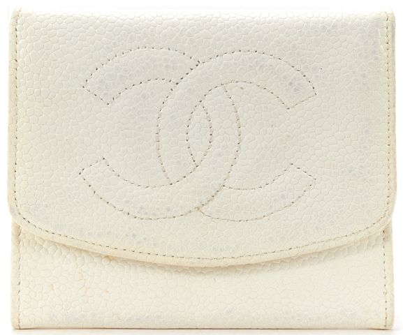 CHANEL White Caviar Leather CC Card Holder Wallet