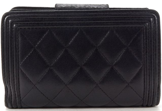 CHANEL Authentic Black Quilted Lambskin CC Boy Compact Wallet w/ Box