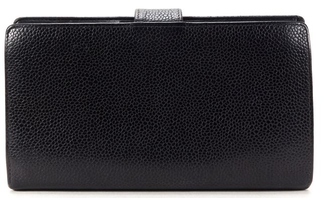 CHANEL Black Caviar Leather CC Long Wallet