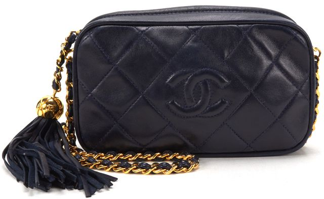 CHANEL Authentic Navy Blue Quilted Leather Tassle Chain Vintage Crossbody Bag