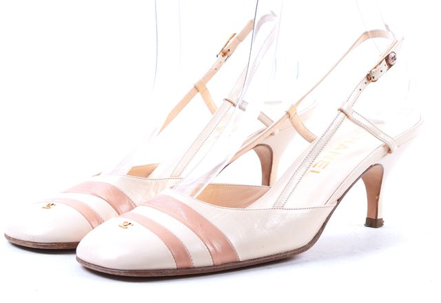 CHANEL Beige Leather Slingback Heels