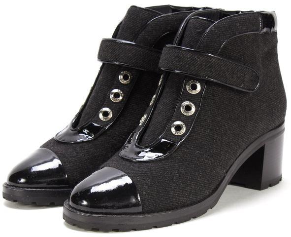 CHANEL Black Wool Patent Cap Toe Velcro Block Heel Ankle Boots