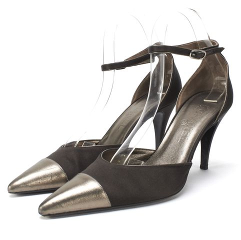 CHANEL Brown Satin Gold Leather Pointed Cap Toe Ankle Strap Heels