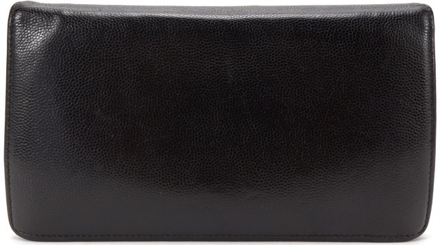 CHANEL Authentic Black Caviar Leather CC Bifold Long Wallet w/ Box