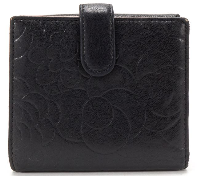 CHANEL Black Leather Camellia CC Compact Wallet