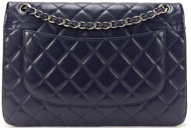 CHANEL Authentic Blue Quilted Caviar Leather CC Classic Jumbo Handbag