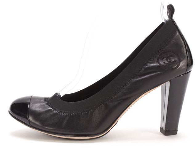 CHANEL Black Quilted Leather Patent Cap Toe Elastic CC Pump Heels