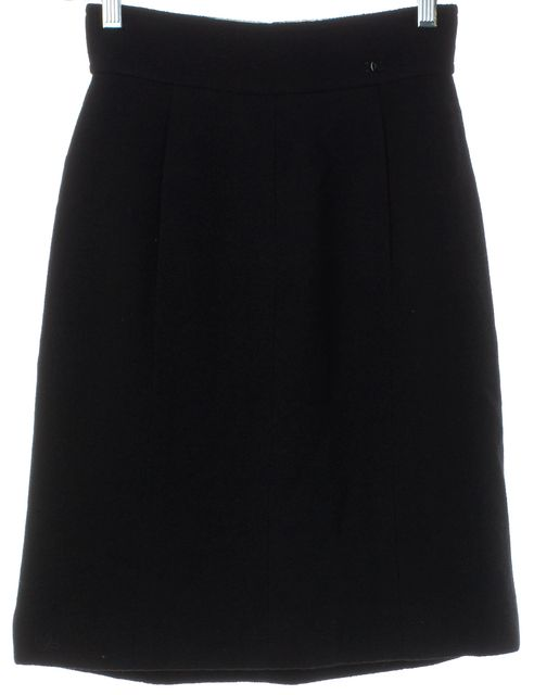 CHANEL Black Wool Knit A-Line Skirt