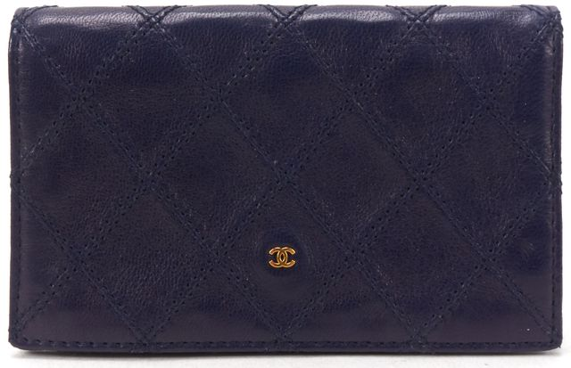 CHANEL Blue Leather Diamond Stitch Bifold Card Holder Wallet w/ Box