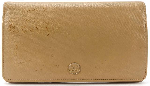CHANEL Beige Caviar Leather CC Bifold Long Wallet w/ Box
