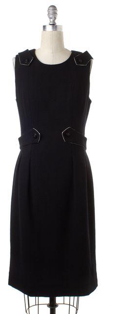 CHANEL Black Wool Sleeveless Sheath Dress