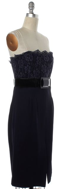CHANEL Navy Blue Floral Lace Strapless Belted Sheath Dress