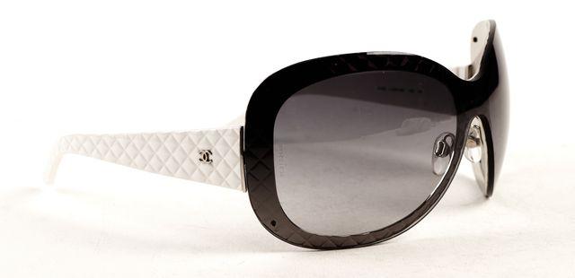 CHANEL White Gray Metal Acetate Quilt Detail Frame Gradient Lens Wrap Sunglasses