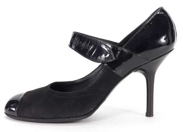 CHANEL Black Suede Patent Leather Capped Toe Casual Mary Jane Pump Heels