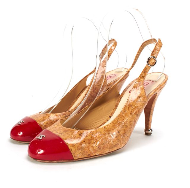 CHANEL Beige Red Cork Patent Leather Cap Toe Slingback Pumps