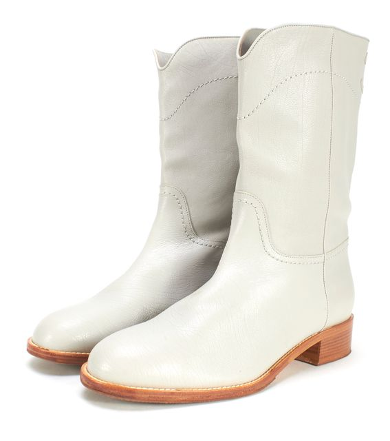 CHANEL Gray Leather CC Cowboy Boots