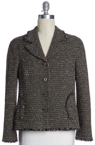 CHANEL Brown Black Tweed Wooden Button Jacket