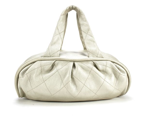 CHANEL Silver Quilted Leather Top Handle Bag