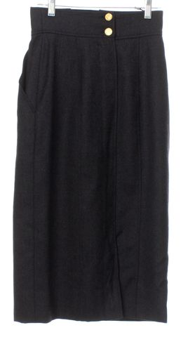 CHANEL Gray Wool Pocketed Pencil Skirt