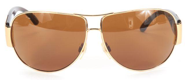 CHANEL Gold Brown CC Logo Aviator Sunglasses