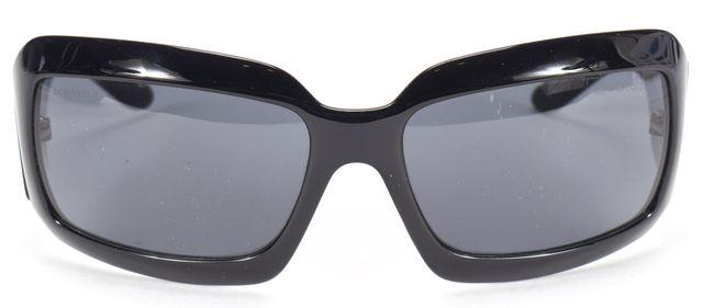 CHANEL Black Rectangular Frame Iridescent CC Logo Sunglasses