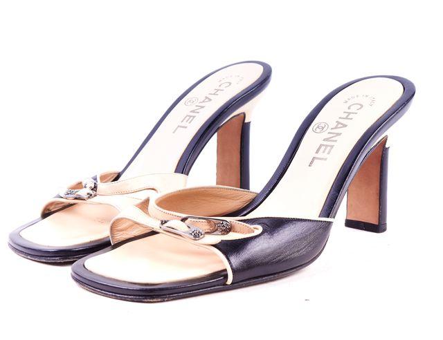 CHANEL Black Ivory Leather Slip On Sandals