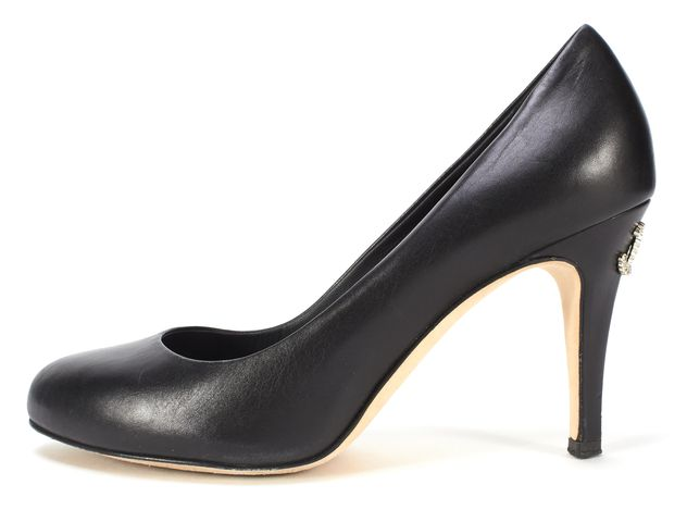 CHANEL Black Leather CC Logo Heels Size 36.5