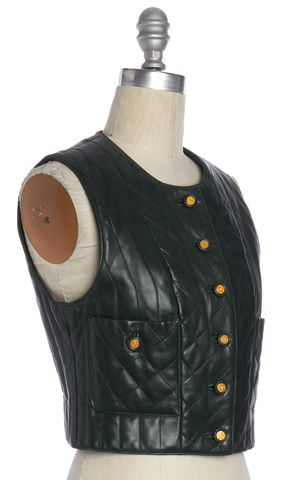 CHANEL Forest Green Quilted Leather Vest Fits Like a 2