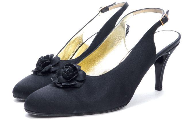 CHANEL Black Satin Sling Back Camellia Flower Appliqué Pumps