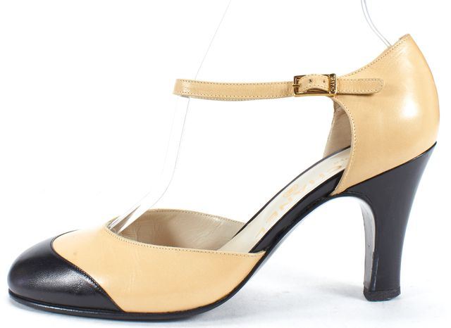 CHANEL Beige and Black Leather Round Toe Ankle Strap Pump