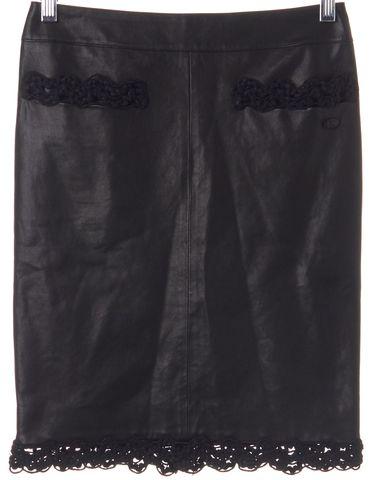 CHANEL Black Crochet Trim Straight Skirt