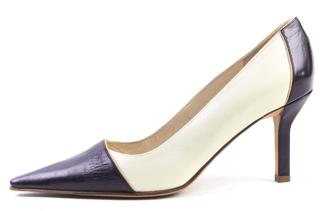 CHANEL Black White Leather Pointed Toe Pump Heels